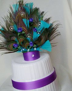 Amazing Peacock Wedding Cake Tops with Peacock Feathers Crystals custom made Eggplant Purple Turquoise and crystals This is my very original popular design Customizing also available just contact me with Peacock Cake, Peacock Wedding Cake, Purple Peacock, Peacock Decor, Peacock Theme, Turquoise And Purple, Peacock Feathers, Purple Wedding, Our Wedding