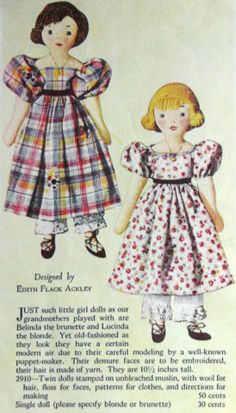 A Doll Shop of My Own: Belinda and Lucinda-Edith Flack Ackley pattern dolls