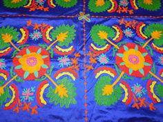 INDIAN TAPESTRY VELVET PATCHWORK HAND EMBROIDERY WALL HANGING TABLE THROW AX14 #Handmade #ArtDecoStyle