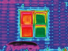 Infrared photography: left shows heat loss on an uncovered window; right shows a window insulated with Duette® Architella® Honeycomb Shades.