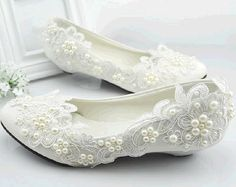 Gorgeous Handmade Pearl Lace Bridal Shoes, Lace Wedding Shoes, Pearl Flower Shoes    Vintage romantic touch. Perfect for Brides, Bridesmaids, and any