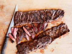 Get Beer-Marinated Grilled Skirt Steak Recipe from Food Network steak recipes Skirt Steak Recipes, Pork Rib Recipes, Grilled Steak Recipes, Grilled Meat, Grilling Recipes, Meat Recipes, Cooking Recipes, Grilled Steaks, Vegetarian Grilling