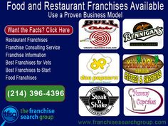 Food and Restaurant Franchises available, proven business models need local investors. Get started with the facts; Restaurant franchises Franchise Consulting Service Franchise ...