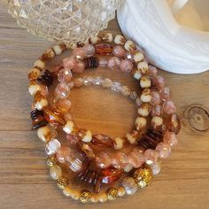 Mixed vintage beads in shades of brown, caramel and taupe 4 piece stacking… Stackable Bracelets, Faceted Crystal, Metal Beads, Bracelet Set, Czech Glass, Handmade Necklaces, Caramel, Taupe, Jewelry Design