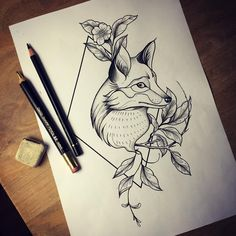 Fox drawing geometrical by miss Sita #misssita #misssitatattoo #fox #foxtattoo
