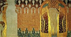 Gustav Klimt (Austrian Art Nouveau Painter, 1862-1918) Beethoven Frieze - Longing for Happiness Finds Repose in Poetry (right) 1902