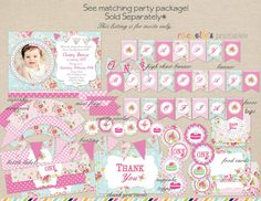 Shabby Chic Birthday Invitation First by RachellesPrintables