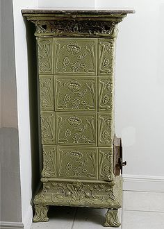 Fantastic,Rare French Art Nouveau Period Faience Poele Charcoal Stove, Could Be such an interesting Piece to Use in the Home.