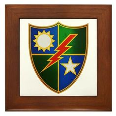 "75th Rangers DUI Framed Tile by CafePress by CafePress. $15.00. 100% satisfaction guarantee return policy. Quality construction frame constructed of stained Cherrywood. Frame measures 6"" X 6"" x 0.5"" with 4.25"" X 4.25"" tile. Two holes for wall mounting. Rounded edges. Army Rangers - SUA POINTE - 75th Ranger DUI"