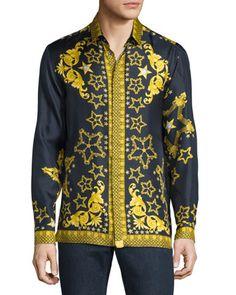 f2764a5c Baroque & Star Printed Long-Sleeve Silk Shirt Navy. Men StoreVersace ...