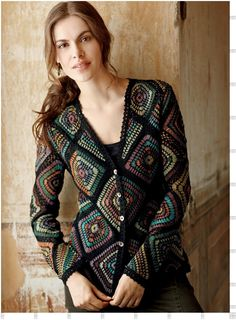 Outstanding Crochet: Crochet Cardigan, Peruvian Connection, composed of beautiful coloured squares looking like stained glass