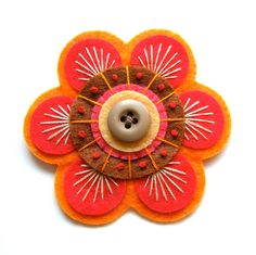 70s inspired felt brooch pin with freeform embroidery. £15.00, via Etsy.