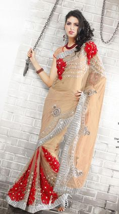 Beige Brown And Red Net Latest Fashion Saree 16067 With Unstitched Blouse