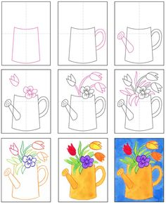 Draw a Watering Can with Flowers · Art Projects for Kids Art Drawings For Kids, Easy Drawings, Art For Kids, Drawing Lessons For Kids, Ideas For Drawing, Flower Drawing For Kids, Summer Drawings, Flower Drawings, Horse Drawings