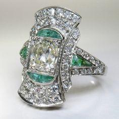 Antique Art Deco Platinum Diamond & Emerald Ring  (hva)