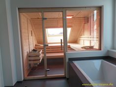 Your sauna under the roof slope - we conceive your sauna individually in each . Saunas, Indoor Sauna, Samsung Camera, Loft Bathroom, Education Architecture, Interiores Design, Building A House, Bathtub, Relax