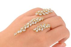 Silver Hand Bracelet Palm Cuff | Bollywood Style - Gold - Body Kandy Couture - 3