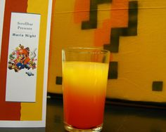 Bowser - 2 cl Tequila, 1 cl Coin-treau,  5 cl Orange juice, 1 cl Grenadine; Stir Tequila, Coin-treau and Orange Juice together, then drop in Grenadine for the gradient effect. Serve with ice in tall glass.