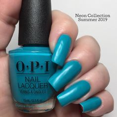 OPI Dance Party 'Teal Down This is Dance Party 'Teal Down from Summer 2019 Neon Collection - semi-matte cream - opaque in 3 coats (depending on your application) - it stamps well on a light background and not visible on a dark background - the white Opi Colors, Paint Colors, Opi Nails, Nail Polishes, Long Fingernails, Opi Polish, Lights Background, Mani Pedi, Dark Backgrounds