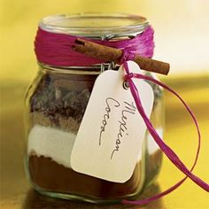 mexican hot cocoa  1 cup unsweetened cocoa powder   1 cup powdered milk   1 cup firmly packed brown sugar  1/2 teaspoon salt   1 tablespoon ground cinnamon   3/4 cup chopped Mexican chocolate (such as Ibarra)   Cinnamon sticks - directions say to put in a big bowl and stir, then use 1/3 C with 1 C water, store the rest in jar