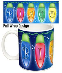 Sip in Style with this Beautiful and Bright Christmas Lights Themed Bingo Mug. Christmas Bingo, Christmas Lights, Bright, Mugs, Tableware, Gifts, Beautiful, Design, Style