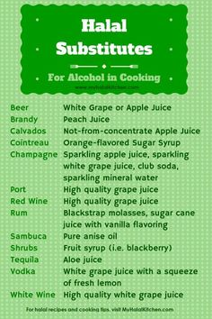 Substitutes for Alcohol in Cooking My Halal Kitchen Inspiration for Wholesome Living with Yvonne Maffei La Ilaha Illallah, Cooking Recipes, Healthy Recipes, Kitchen Recipes, Cooking Pork, Cooking Rice, Cooking Turkey, Snacks Recipes, Noodle Recipes