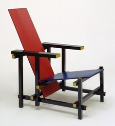 Red Blue chair by Gerrit Rietveld re-edition @ Cassina 1918