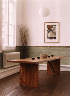 Oak/elm & stainless steel dining table