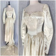 1940s Wedding, 1980s Dresses, Old Hollywood Glamour, Chapel Train, Covered Buttons, Silk Satin, Knit Dress, Wedding Gowns, Vintage Outfits