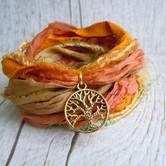 Tree of Life Bracelet - Bohemian Sari Silk Ribbon Wrap Bracelet - Autumn Harvest - Boho Chic - Yoga Jewelry  - Gift For Her - Rustic