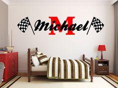 Boys Name Checkered Flag Racing Monogram Wall Decal Nursery Room Vinyl Wall Graphics Bedroom Deco