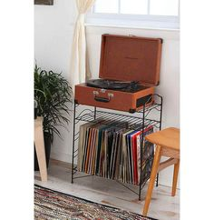 Black Record Stand - Urban Outfitters I want a record player Vinyl Record Storage Shelf, Storage Shelves, Iron Storage, Record Cabinet, Modular Storage, Wire Shelving, Storage Rack, Wall Shelves, My New Room