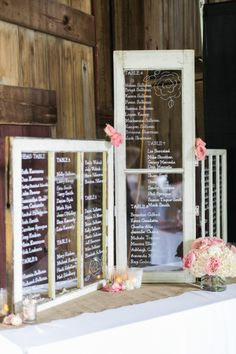 Glass window signs: http://www.stylemepretty.com/ohio-weddings/akron/2015/03/18/rustic-blush-gray-farm-wedding/ | Photography: Studio Elle - http://studioellephotos.com/