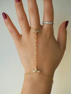 Cubic Zirconia Adjustable Horse Eye Hand Chain Bracelets with Ring Slave Chain Hand Jewelry