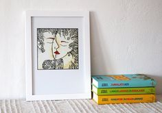 Romantic art print Kiss. Pen and ink drawing. Line by siret, $15.00