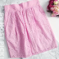 """🎉M MISSONI Silk & Eyelet Poplin Skirt m  missoni  ⠀† size 4 ⠀† pink silk & eyelet poplin skirt ⠀† 100% cotton ⠀† fully lined, polyester lining ⠀† 19"""" waist to hem, band waist 2.30"""" ⠀† gathered along waistline ⠀† two side pockets in front ⠀† hidden center back zip closure ⠀† made in italy ⠀† new with tags  host pick!   ⠀2.10.16 › best in dresses & skirts  ⠀5.9.16 › classic chic  ⠀6.24.16 › pretty, flirty & girly  ⠀7.20.16 › best in dresses & skirts  ⠀8.14.16 › weekend warrior  disclaimer: ⠀✗…"""