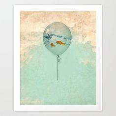 BALLOON FISH Art Print by Vin Zzep