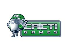 Cacti Games. Charming little catus character for this memorable gamer logo. The designers managed to get a cheeky look of the cacti.