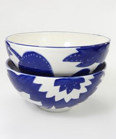 Loving this Blue & White Medium Deep Serving Bowl - Set of Two on #zulily! #zulilyfinds