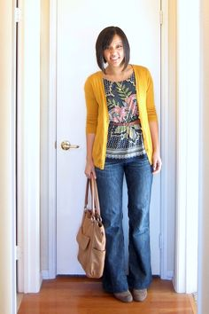 I really like how this looks, the blouse with the cardigan, the pop of color. It's a nicer version of what I usually wear.