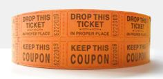 Orange Two Part Raffle Tickets - Roll of 1000 for Like the Orange Two Part Raffle Tickets - Roll of Get it at Admission Ticket, Fun Express, Jack And Jill, Raffle Tickets, Baking Ingredients, Coffee Cans, Cookie Dough, Fundraising, Party Supplies