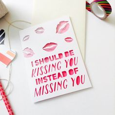 LDR Card (004) | Long Distance Relationship Card | LDR Gift | MilSO Card | (Kissing You Instead Of Missing)