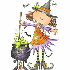 Witch and Cauldron Clip Art Halloween Painting, Halloween Drawings, Halloween Pictures, Halloween Cards, Holidays Halloween, Fall Halloween, Happy Halloween, Halloween Decorations, Halloween Witches