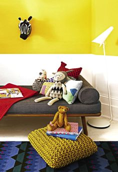 two-tone painted walls // #kids #room #yellow #white #kidsroom