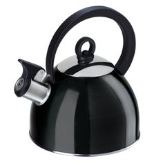 $11.61 Oggi Stainless Steel Whistling Tea Kettle with Flip Open Spout, Black : Amazon.com : Home & Kitchen