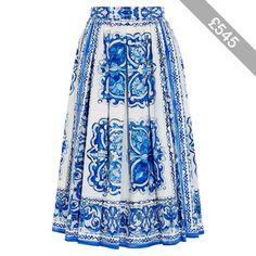 Dolce & Gabbana Printed cotton-poplin midi skirt