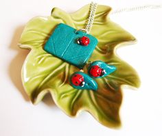 Jewellery Set Lady Bird On Leaf Realistic by PricklyRoseDesigns