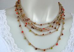 Beaded lariat necklace: linen necklace crocheted with glass beads by MarieAntoinknit for 9ElizabethStreet