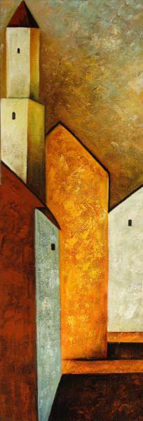 Cuadros abstractos, cuadros modernos con paisajes abstractos, I-A primera luz