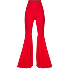 Red Extreme Flared Trousers ($28) ❤ liked on Polyvore featuring pants, red flare pants, flared pants, flare trousers, flared trousers and flare pants